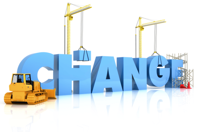 Illustration of construction equipment building the word Change