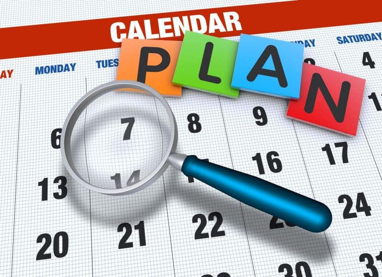 image shows a calendar with letters spelling plan - planning the date