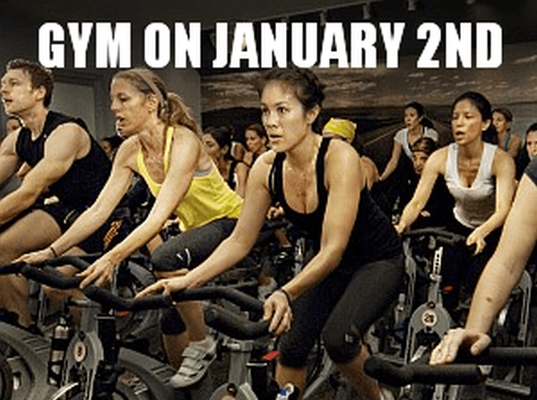 split image on top shows a lot of people exercising with the caption Gym on January 2nd,