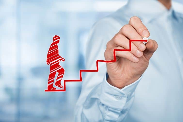 Personal development, personal and career growth, success, progress, retreat coach, and potential concepts. Coach (human resources officer, supervisor) help employee with his growth symbolized by stairs.