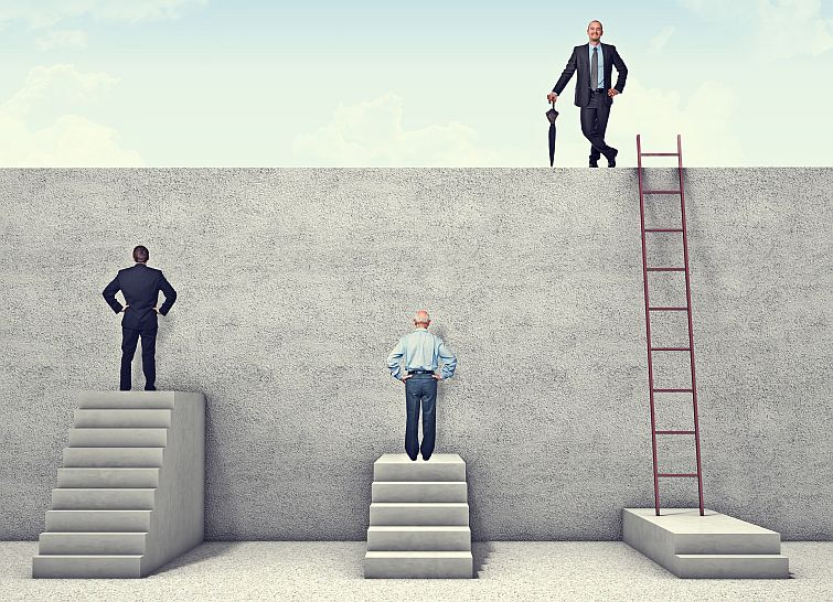 business people facing an obstacle wondering how to be successful while one person is on top of the obstacle successful in the goal